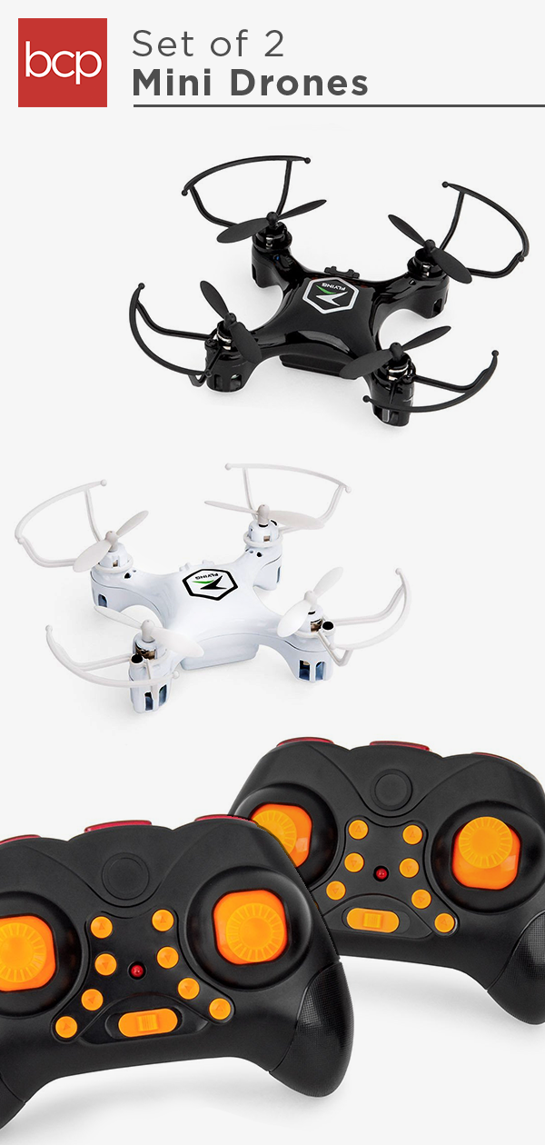 Set of 2 3-Speed Beginners Mini RC Quadcopter Drones w/ LED Lights ...