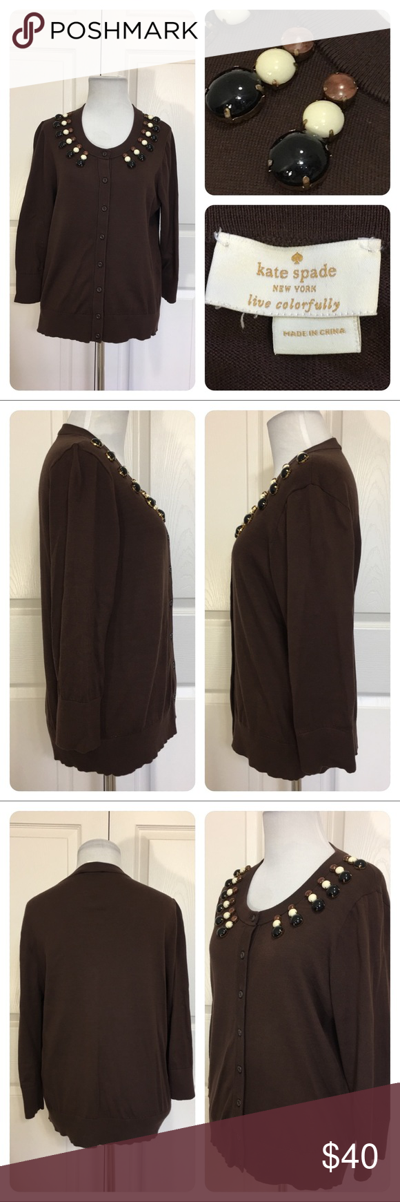 Kate Spade brown cotton beaded cardigan Great brown cotton ...