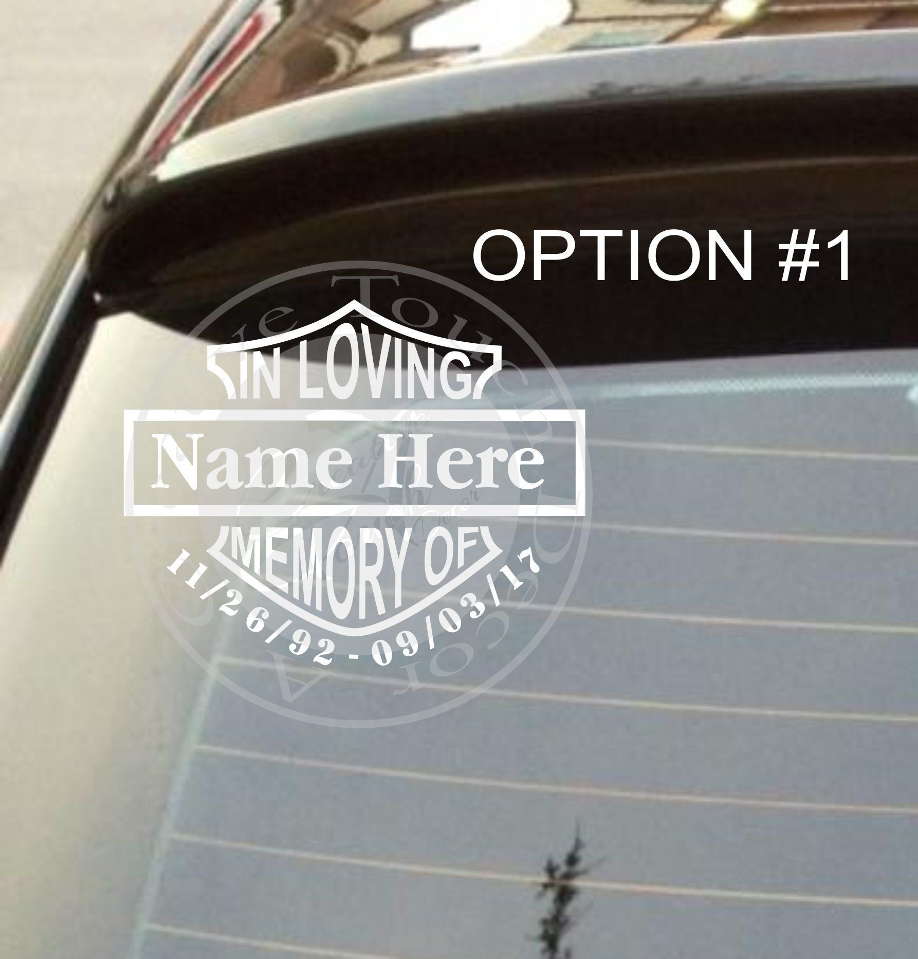Personalized In Loving Memory Harley Davidson 2 Car Decal With Name And Dates By Acreativetouchdecor On Etsy Vinyl For Cars Car Decals Car Decals Vinyl