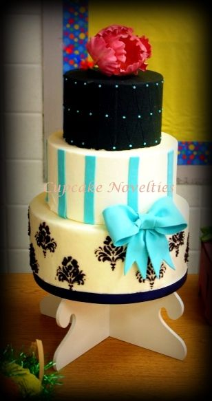 White Black Teal Wedding Cake With A Pop Of Pink Cupcake Novelties