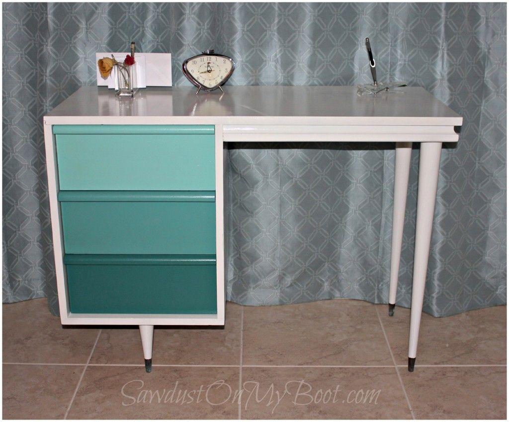 mid century modern furniture restoration. mid century modern ombre desk refinish sawdustonmyboot furniture restoration
