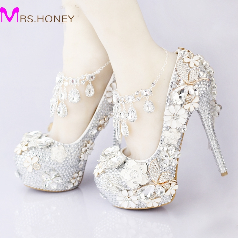 122.39$  Buy now - http://alihzm.worldwells.pw/go.php?t=845520035 - 2016 Luxurious Silver Rhinestone Wedding Bridal Shoes Crystal Ankle Straps Anniversary Party High Heel Shoes Handmade 5 Inches 122.39$
