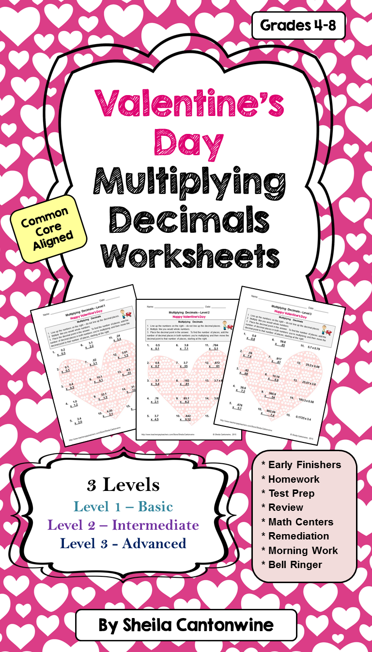 Valentine's Day Multiplying Decimals Worksheets (Differentiated ...