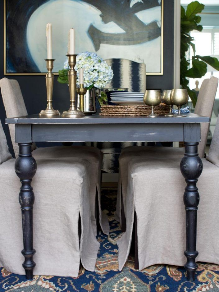 Dining Room Distressed Black Table With Metal Accessories Traditional