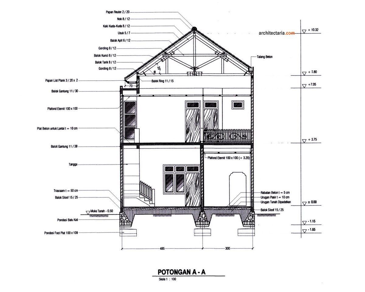 Potongan Melintang Rumah Dan Ruang Usaha Ruko Atau Rukan Jpg 1200 960 Rumah Lantai Desain