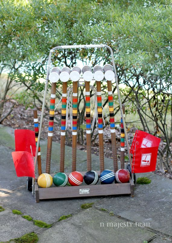 Wood Croquet Set by Forster. Vintage. 6 by NorthMajestyTrail