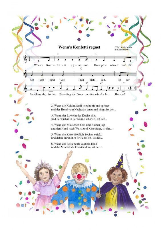 Wenn S Konfetti Regnet Ein Faschingslied Faschingslied Karneval Kindergarten Und Kindergarten Lieder
