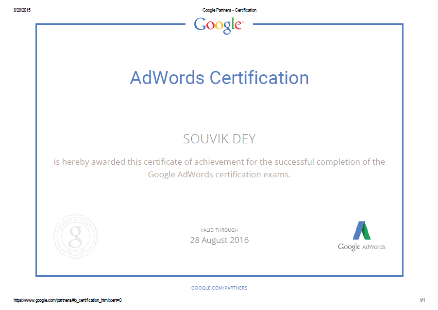Brandveda Congratulates Mruvik Dey For Completing His Google