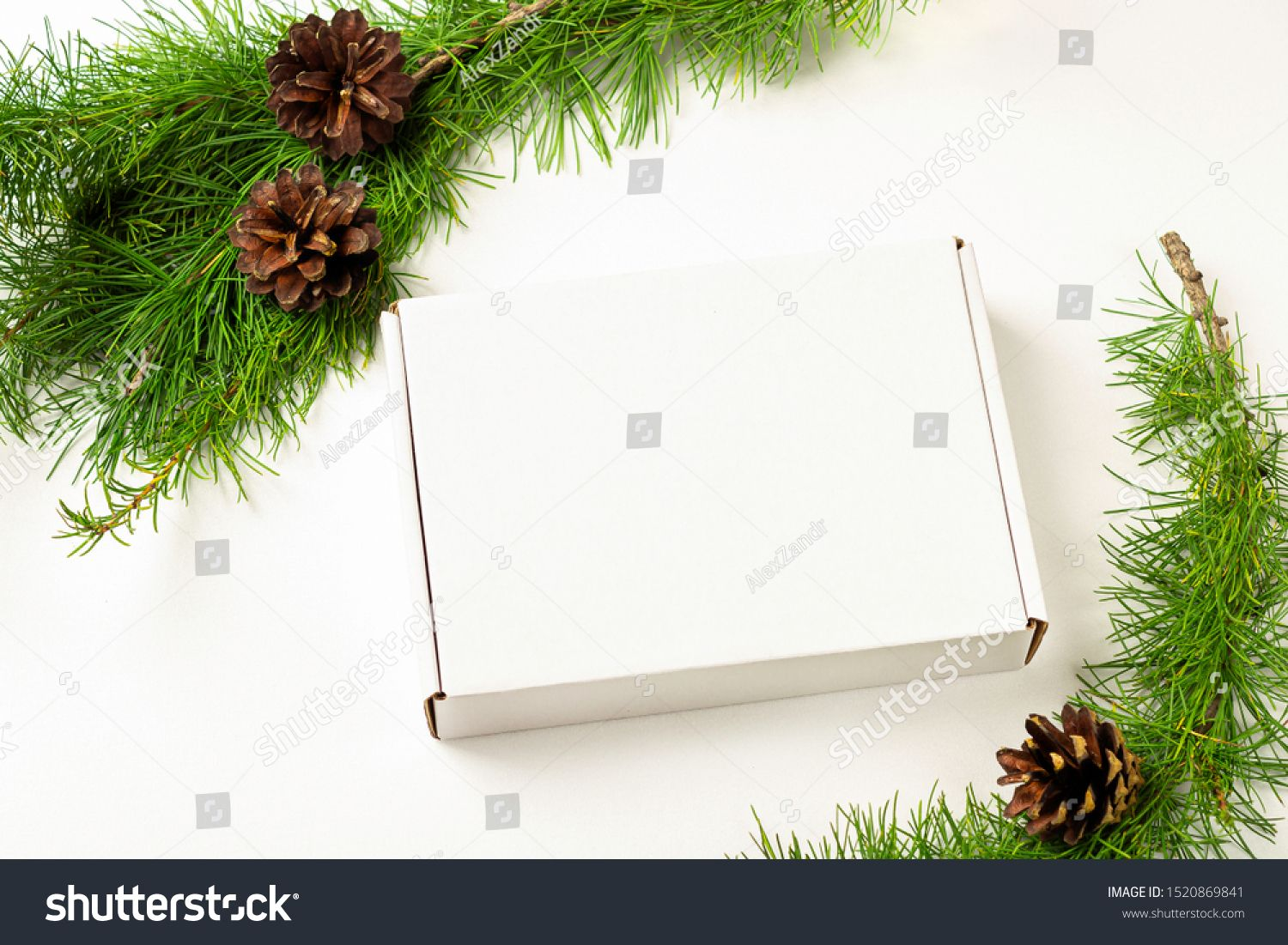 Mockup White Gift Box On A White Background Decorated Christmas Tree Branch With Cones Christmas Winter Holidays And New Yea Christmas Tree Decorations Christmas Tree Branches White Gift Boxes