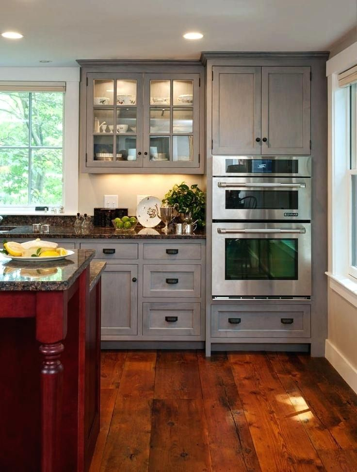 Grey Wood Cabinets Counter Stained Gray Solid Kitchen ...