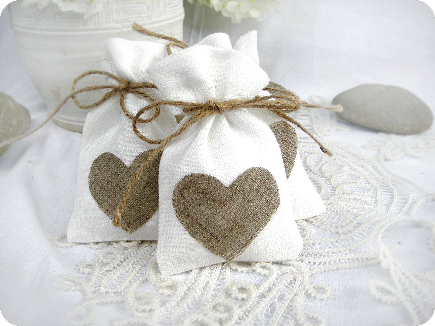 Wedding favor bags - Set of 10- White Rustic Linen Wedding Favor Bag ...