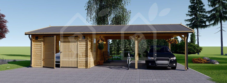 Wooden Garage & Carport 9,5m x 6m 44mm Ports de voiture