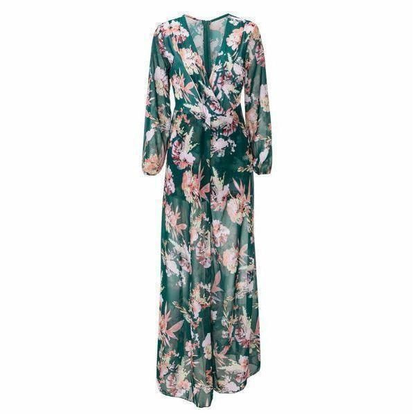 One Piece Floral Print High Slit Women Chiffon Rompers