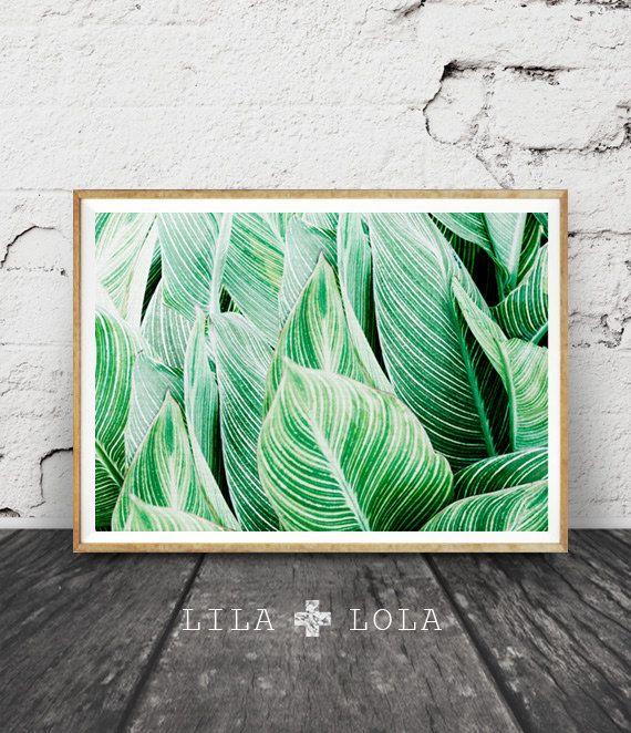 Printable Wall Art Tropical Leaf Print Plant Decor Green Stripes Photography