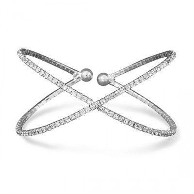 "Silver Tone Criss Cross ""X"" Crystal Fashion Memory Bracelet"