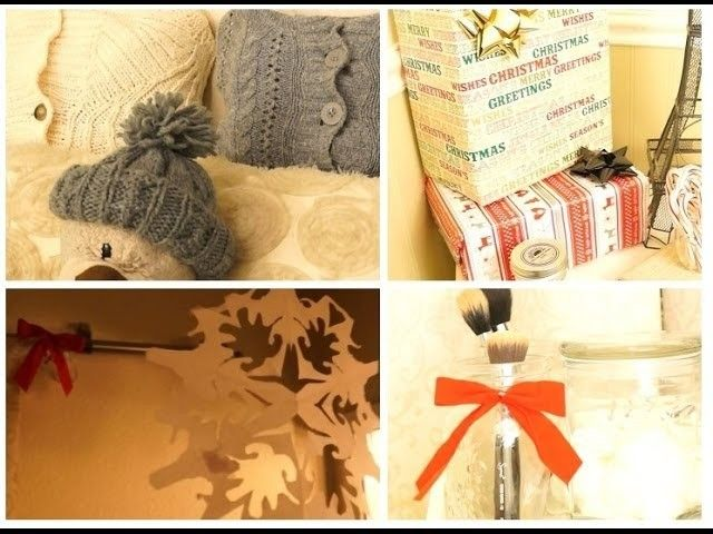 Super affordable holiday bedroom decor + DIY no sew sweater pillow!