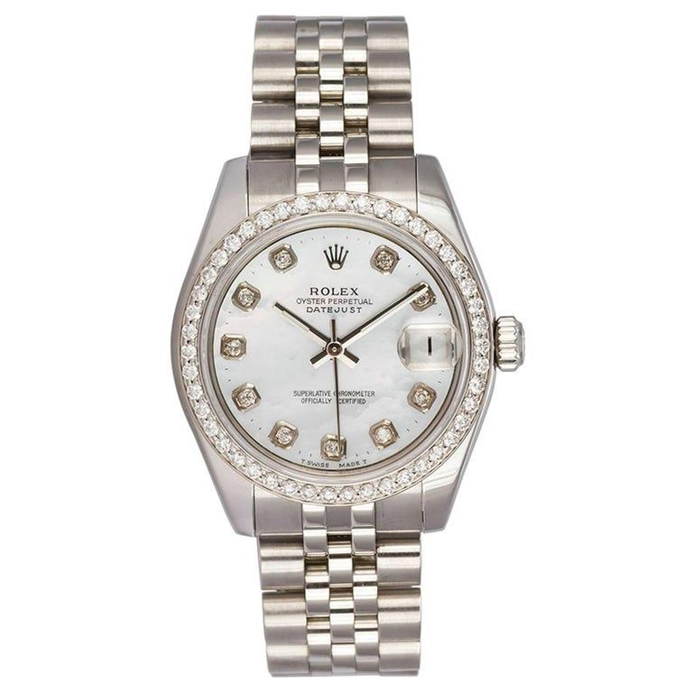Rolex Mid-size Datejust Stainless Steel 178240 Mop Dial Diamond Bezel #stainlesssteelrolex