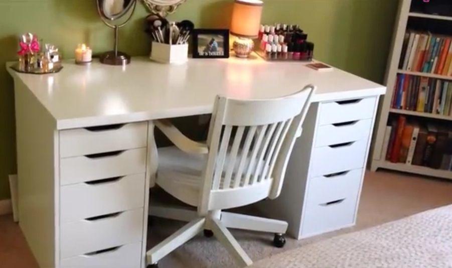 ikea linnmon alex desk vanity white crafts pinterest vanities and desks. Black Bedroom Furniture Sets. Home Design Ideas