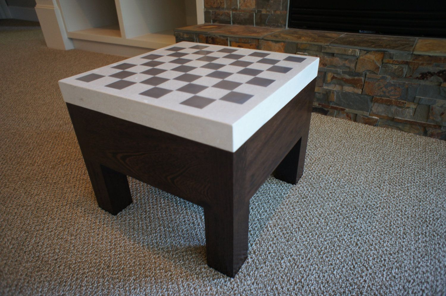 Delicieux Wenge And Concrete Chess Table