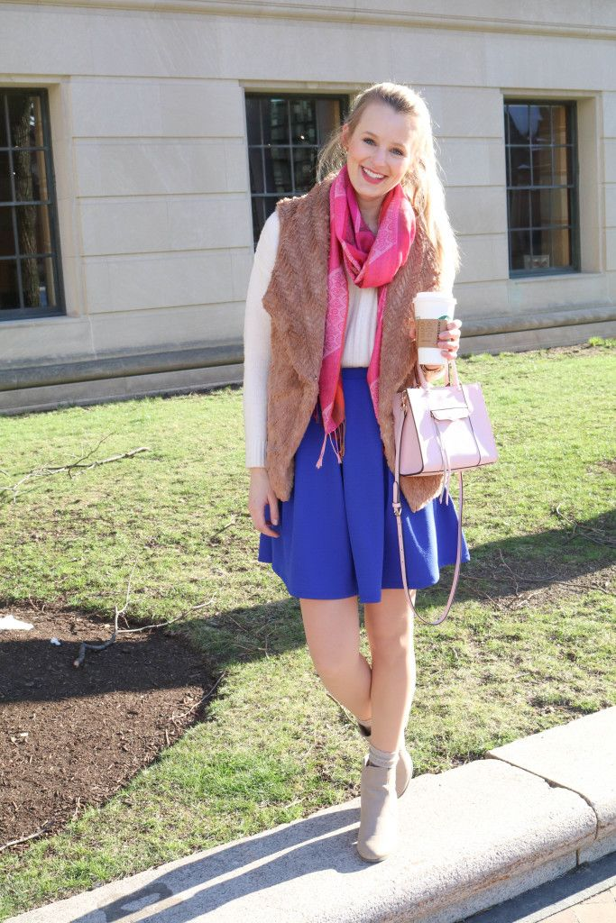 Bright blue and pink hues paired with @solesociety booties + cozy @smartwool socks for warmth
