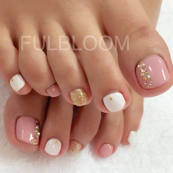 Pedicure Nail Art: Pink And White Pedicure With Glitter And Gems.