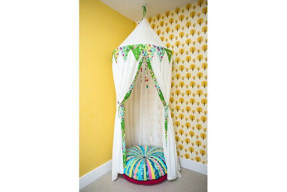 Hanging Play Tent Whimsical Canopy in White Cotton Lawn and Echino Spring Leaves Bunting on Etsy  sc 1 st  Pinterest & Hanging Play Tent Whimsical Canopy in White Cotton Lawn and Echino ...