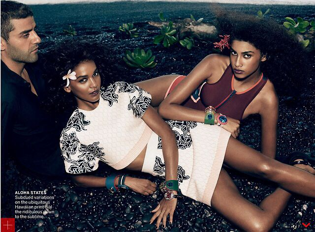 "Liya Kebede and Imaan Hammam in ""Flower Girls"" photographed by Mikael Jansson For Us Vogue January 2014"