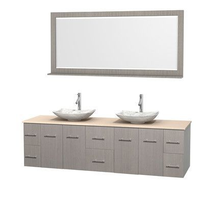 """Wyndham Collection Centra 80"""" Double Gray Oak Bathroom Vanity Set with Mirror Top Finish: Ivory Marble, Sink Finish: Avalon Ivory Marble"""