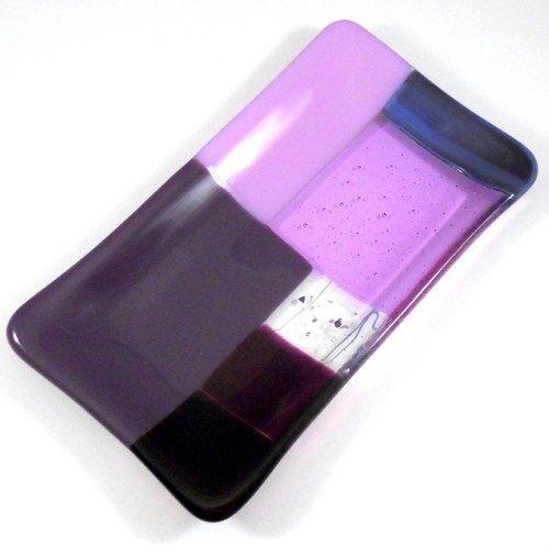 Fused Glass Art, Plate in Purple Color Block Pattern, 4 x 7 | ResetarGlassArt - Glass on ArtFire
