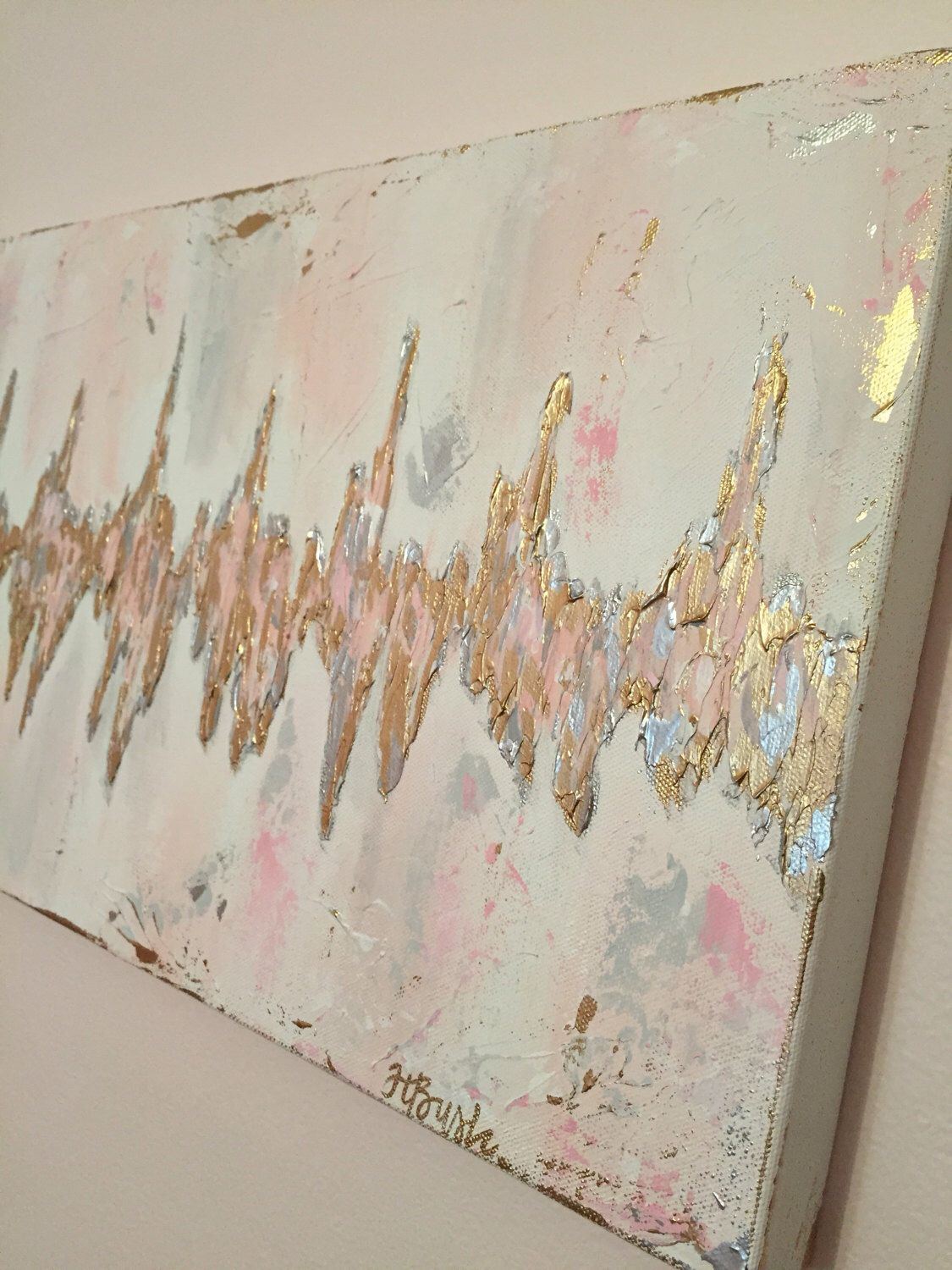 Baby heartbeat painting on canvas inspired by sonogram nursery custom sonogram heartbeat painting baby heartbeat art ultrasound heart rhythm abstract heartbeat by negle Images