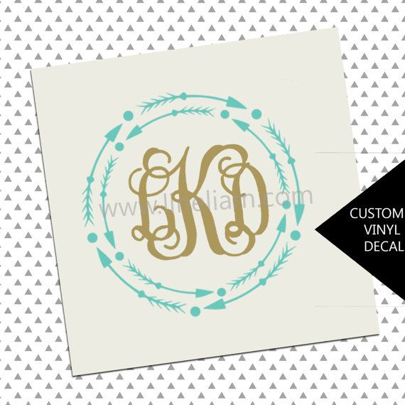 Aztec Monogram Decal Personalized Vinyl Name Phone Monograms - Custom vinyl stickers for cups