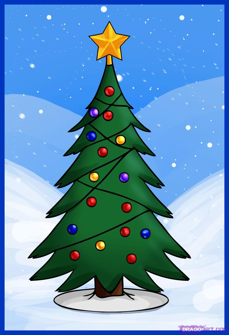 How To Draw A Christmas Tree Christmas Tree Drawing Christmas Tree Drawing Easy Cartoon Christmas Tree
