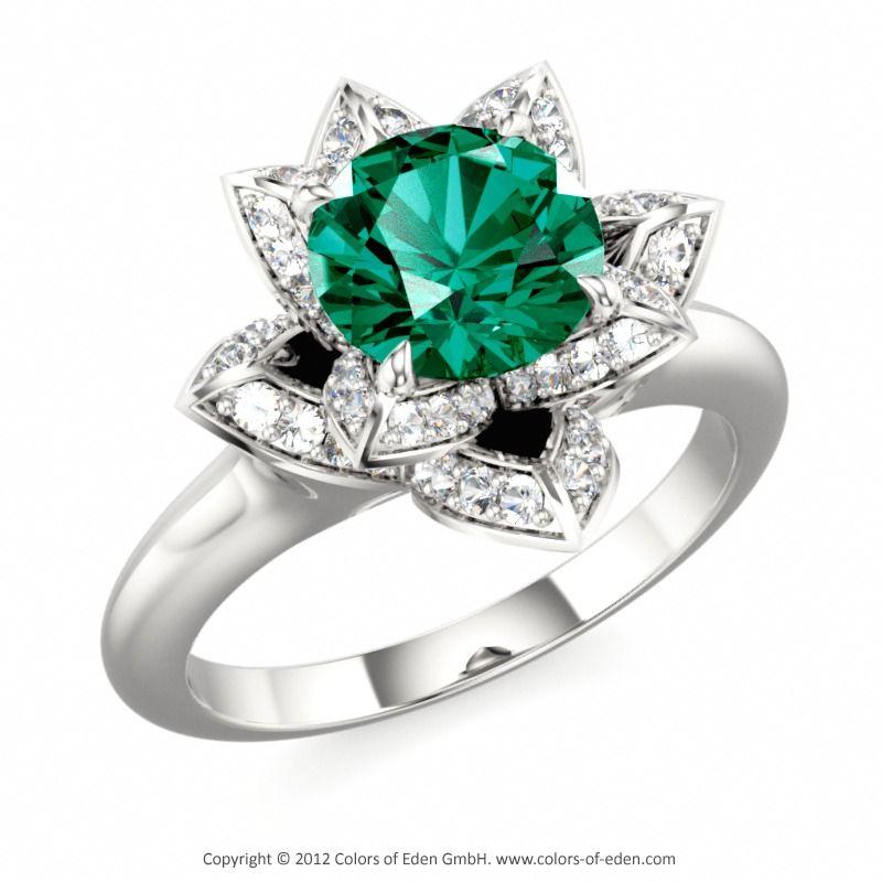 LOTUS BLOSSOM PETITE | Designer Engagement Ring with Swarovski Brilliance Cubic Zirconia Green and Swarovski Brilliance Cubic Zirconia White in 14k White Gold
