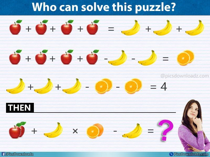 Apple Banana X Orange Banana Viral Fruits Math Puzzle Maths Puzzles Brain Teasers Fun Math