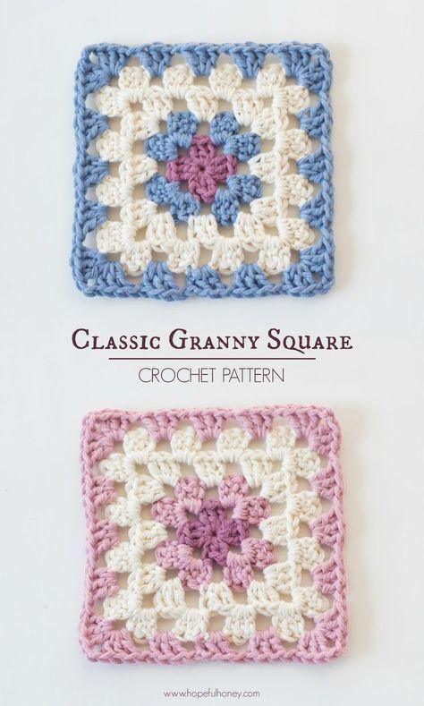 Classic Granny Square - Free Crochet Pattern | Manta, Manta de ...