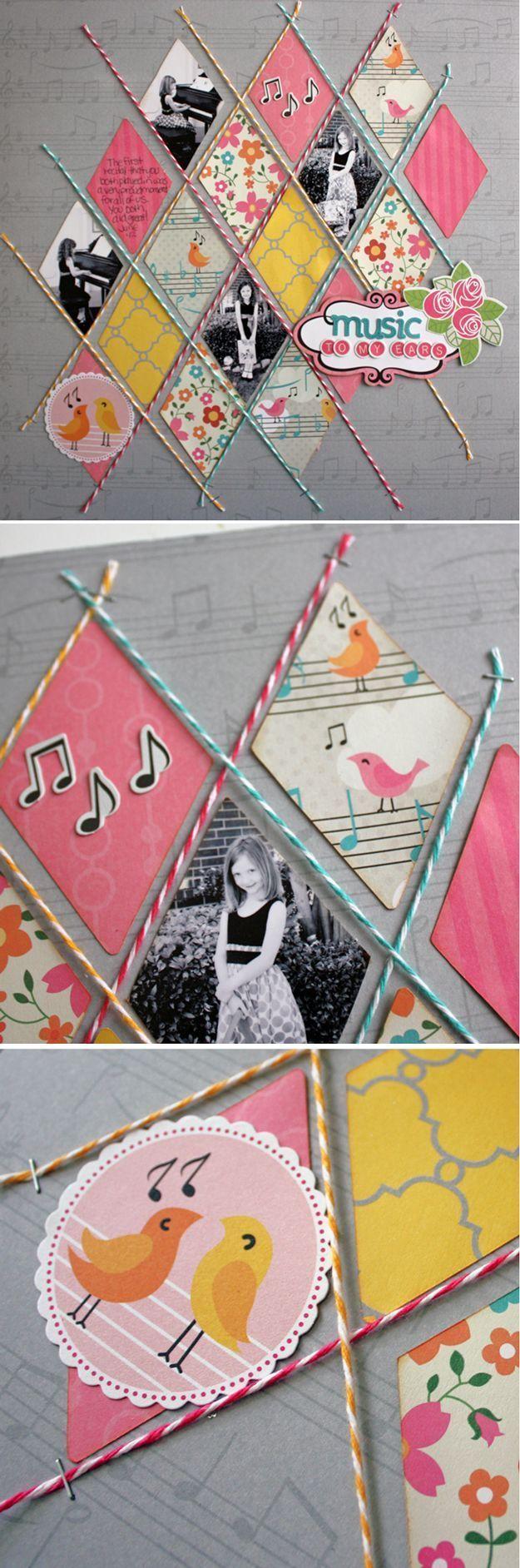 Cute and Cheap DIY Scrapbook Ideas | Diamond Twine by DIY Ready at ...