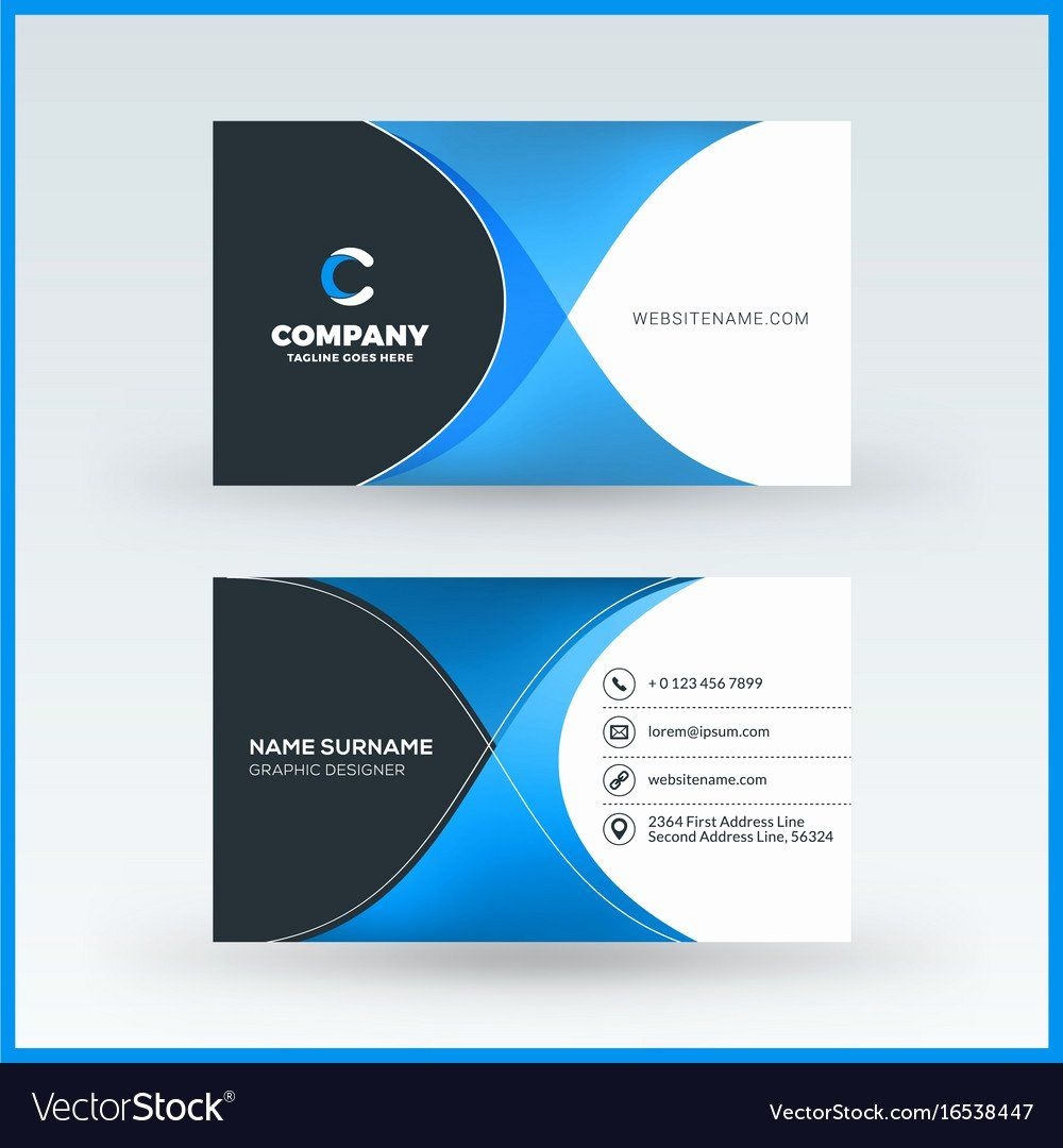 Double Sided Business Card Template Unique Double Sided Horizontal Business Card Templat Double Sided Business Cards Business Card Wording Vector Business Card