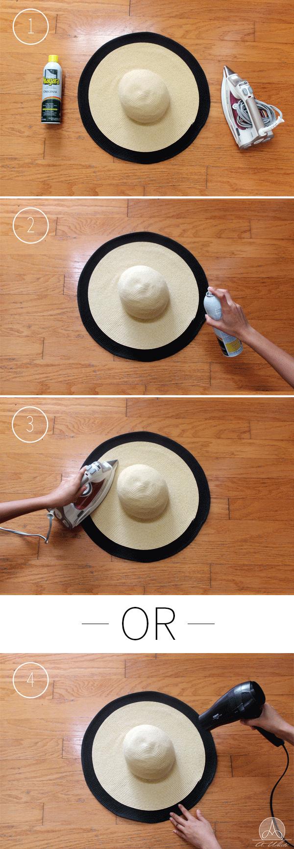 How to stiffen a floppy hat Heavy Duty Spray Starch & iron/hair