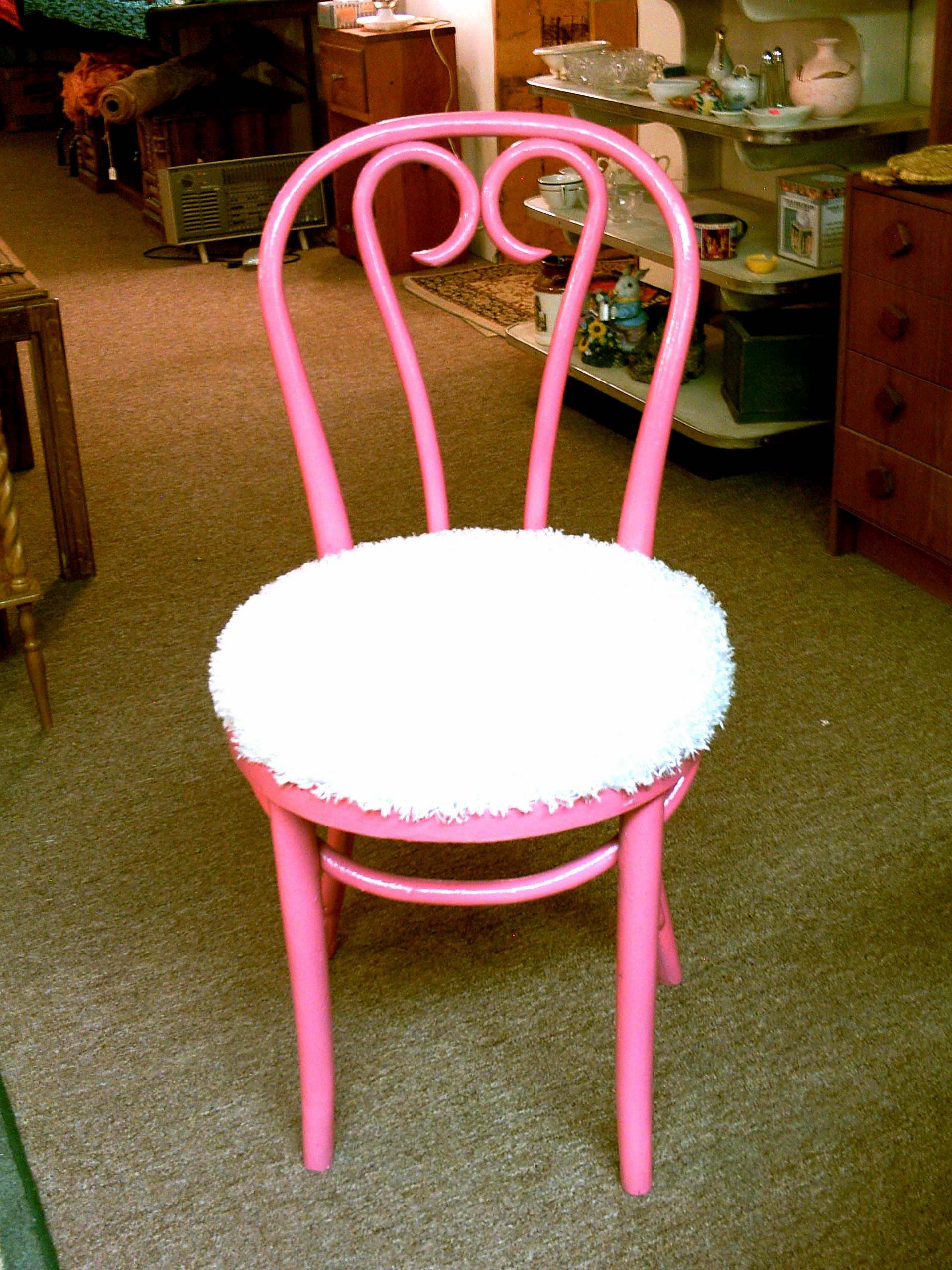 We Painted Up An Old Wood Parlor Chair And Added Padding And Some Cute Long  Knap White Material We Found.