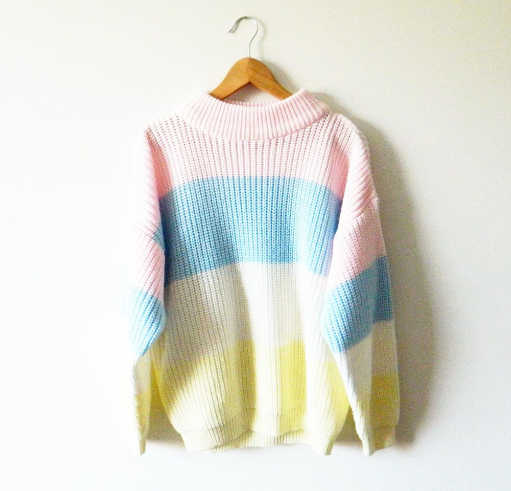 fa78abd46442 Oversized 80s Pastel Striped Sweater.  36.00
