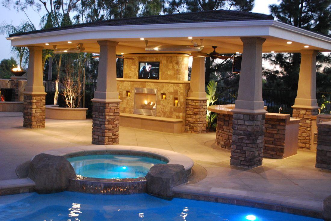 Outdoor Fireplace Kitchen Tv Patio Design Patio Backyard Patio