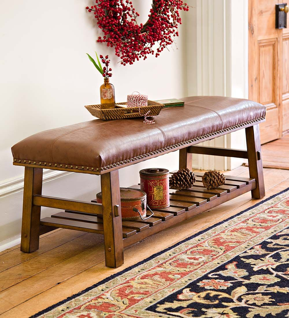 Canyon Brown Leather and Wood Bench with Slatted Bottom