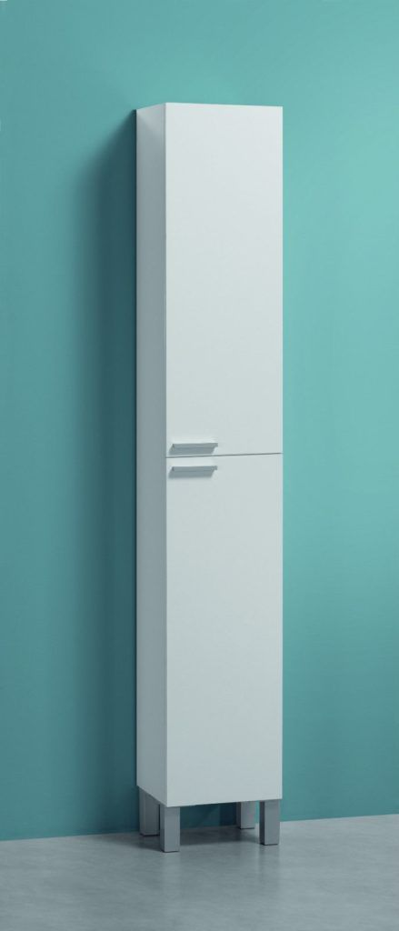 White Gloss Tall Bathroom Storage Unit
