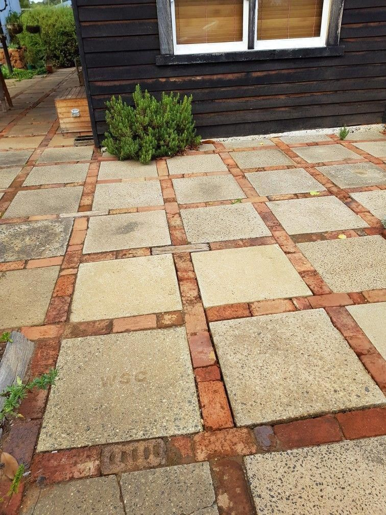 Photo of This is a very simple and inexpensive solution to a patio, walkway etc. Cement s…