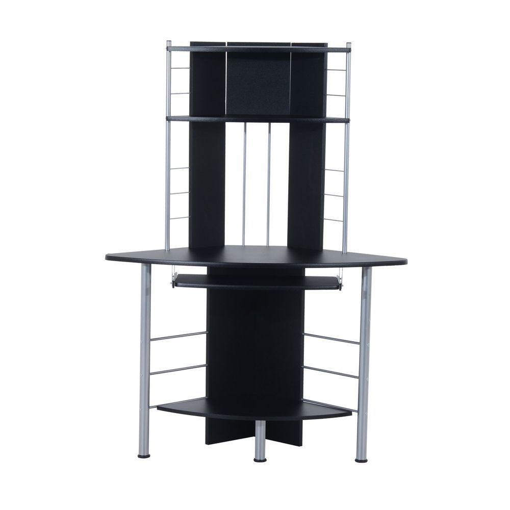 Corner Computer Workstation Black Compact Desk Shelves Printer  # Muebles Sixbros