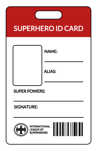 Superhero Id Card Label Id Card Template Free Printable Give Students And Kids Fun Id Card B Id Card Template Templates Printable Free Card Templates Free