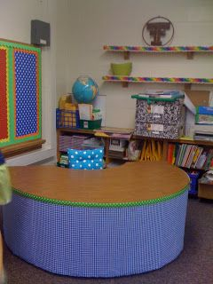 "Hide all of your teacher ""stuff"" (aka junk) by covering up your table! There's so much storage space that can be put to good use with this cute little trick!"