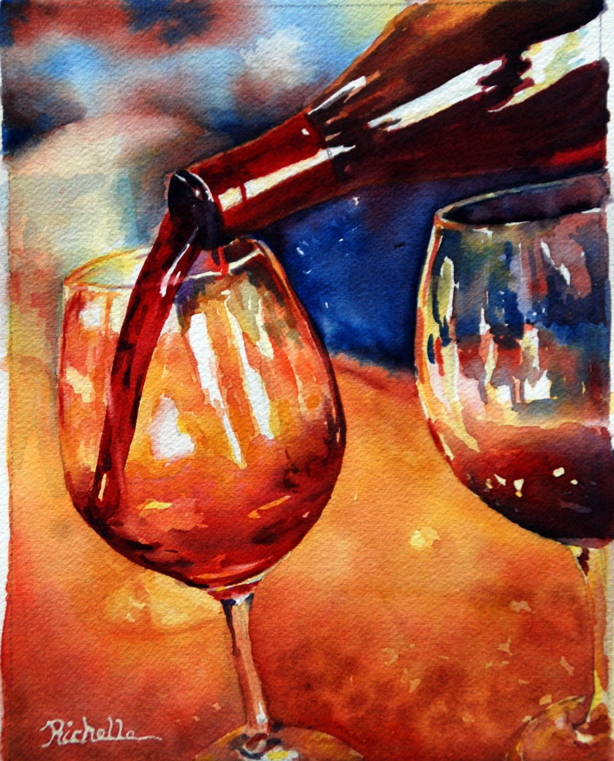 Pin By Richelle Siska On Art Studio Ideas Wine Art Vineyard Art Painted Wine Glass