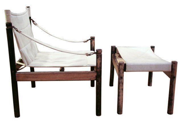 1960s Danish Sling Chair U0026 Ottoman $1475