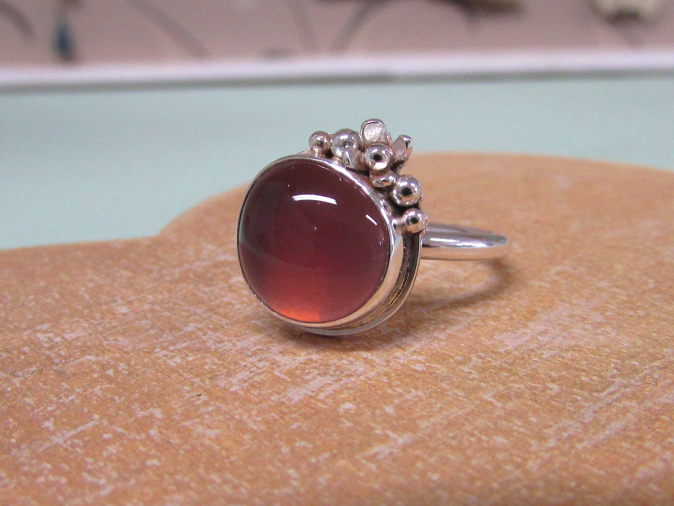 Fused glass and sterling silver ring by Bay Design.